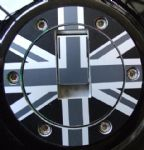 "6 Screw TRIUMPH Petrol/Gas Cap. Aluminium Tank Decal: ""Union Flag"" Mono."